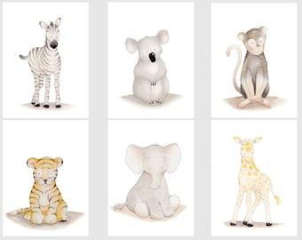 Safari Nursery Set,Safari Nursery Wall Art,Safari Children's Art,Safari Decor Set,Animal Children's Art,Elephant Koala Zebra Giraffe Nursery
