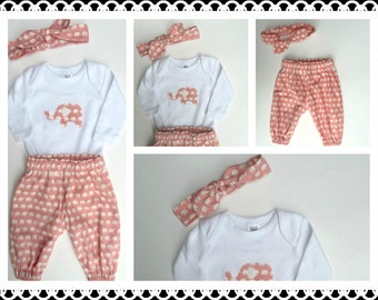 Baby Girls outfit/set, pants applique top and headband Avail in 000, 00, 0