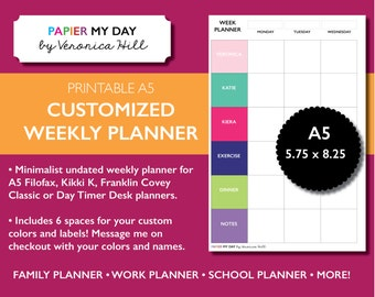 A5 Filofax Custom Weekly Planner - Filofax A5 Weekly Calendar - Filofax A5 Family Planner