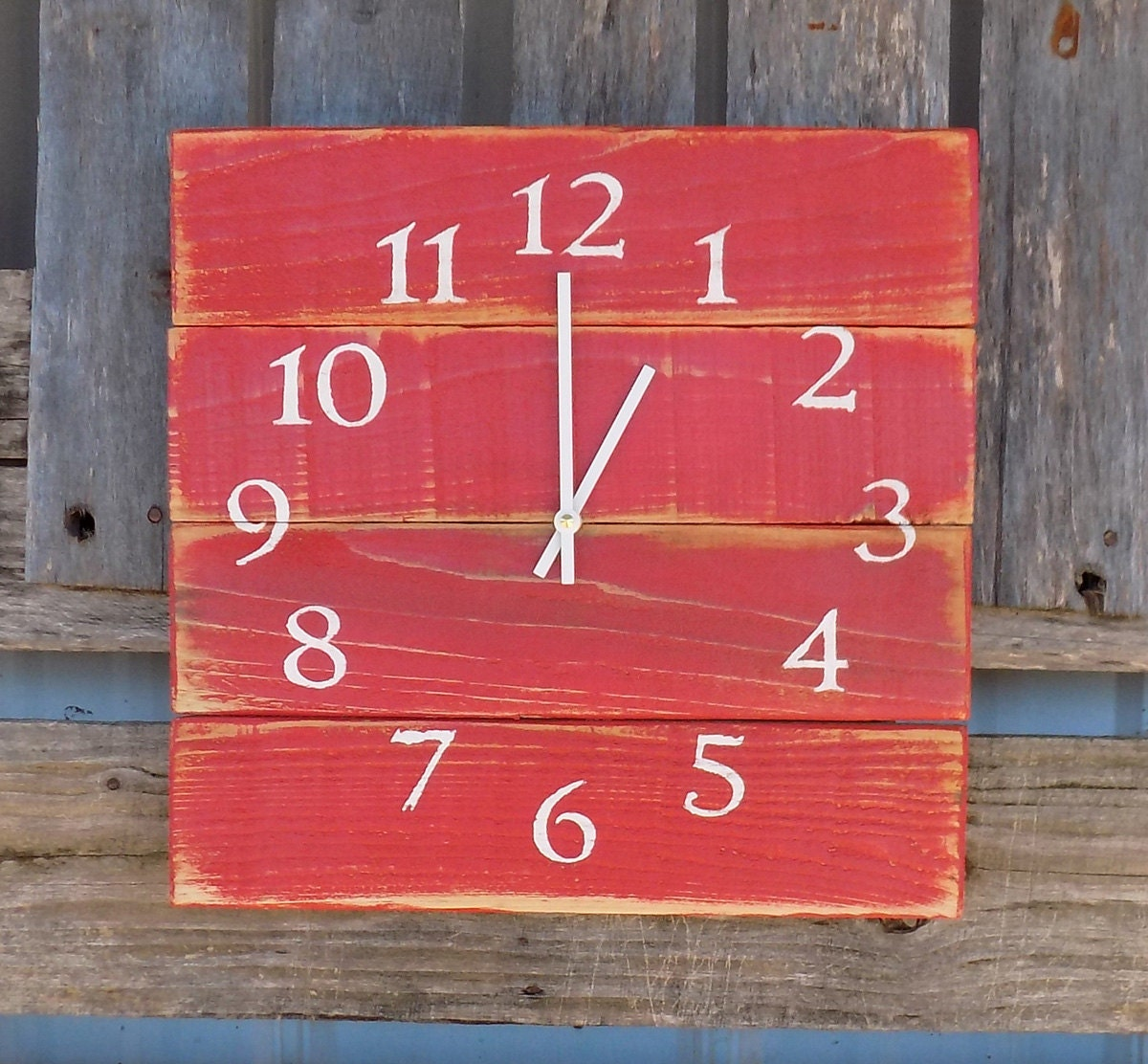 Red Wooden Wall Decor : Primitive wood clock red wall rustic