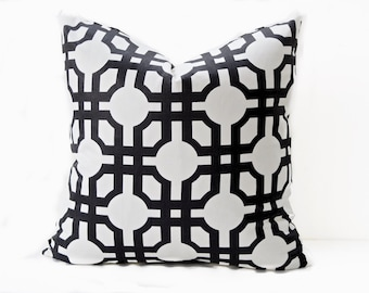 Graphic black pillow cover - geometric modern pillow in white and black - trellis modern toss throw accent decorative pillow 20x20