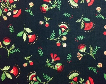 Timeless Treasures SMALL JACOBEAN FLORAL Black100% Cotton Premium Fabric-Per 1/2 Yard Black