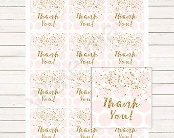 Pink and Gold Favor Tags, Pink and Gold Thank You Tags, Pink and Gold Swing Tags Instant Download Printable Favor Tags, Digital JPEG PDF203