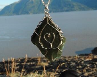Alaskan Deep Green Sea Glass Pendant