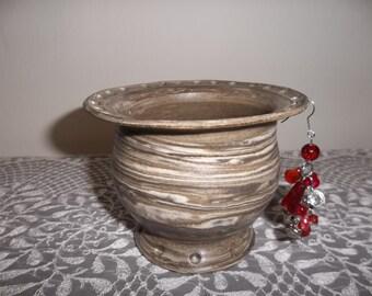 Handmade Brown and White Stoneware Earring Holder/Bowl