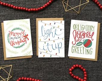 Christmas Card Set of 6 - Holiday Card Set, Xmas Card Set, Funny Christmas Card Set, Merry Christmas Card Set
