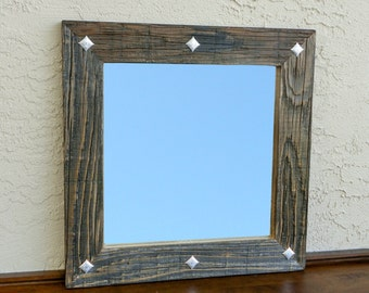 reclaimed wood mirror with decorative metal squares rustic home decor eco friendly framed mirror modern mirror bathroom mirror 20x20