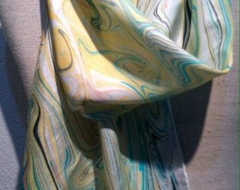 Marbling on silk- scarf