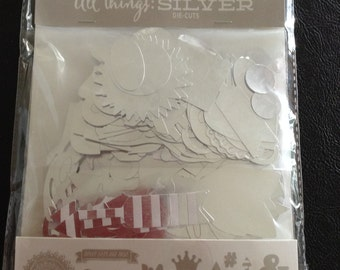 All Things Silver Die Cuts, Over 150 Pieces, Various Die Cuts, Craft Supplies, Embellishments, Scrapbooking, Card Making, My Mind's Eye