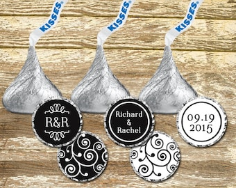Hershey Kisses Labels - Wedding Favors, Black and White Wedding, Wedding Chocolates, Wedding Stickers, Personalized Wedding