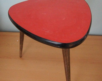 Sale - 25% off - Red Table - Mid Century - Coffe Table - Germany 1950s - Tripod - Plant Stool