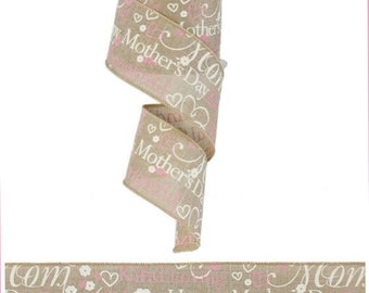 """Mother's Day Ribbon Wired Burlap 2.5"""" 10 Yards Natural Cream Pink DIY Mother's Day Craft"""