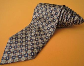 Lancel Tie Pure Silk Geometric Pattern Yellow Vintage Designer Dress Necktie Made In Italy