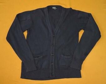 Polo By Ralph Lauren Sweater Cardigan Navy Blue Vintage 90s Button Up Designer Cotton Sweatshirt Jacket Hipster