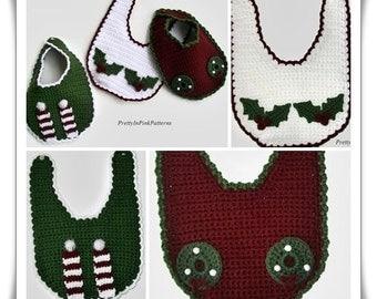 Baby Bibs Crochet Pattern - Christmas Baby Bibs - Crochet Bibs - PDF Pattern - Holiday Baby Napkins - Baby Crochet Pattern