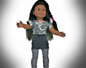 18 Inch Doll Silver, Black  Sparkle Rockin at the Club outfit for 18 inch dolls such as American Girl & Our Generation