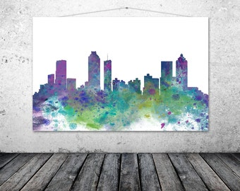 Atlanta City Georgia, Atlanta City Skyline, Watercolor Atlanta Wall Art - ATLANTA 1