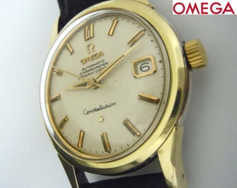 1958 Mens Stainless Omega Constellation Automatic Silver Stick Calendar Watch