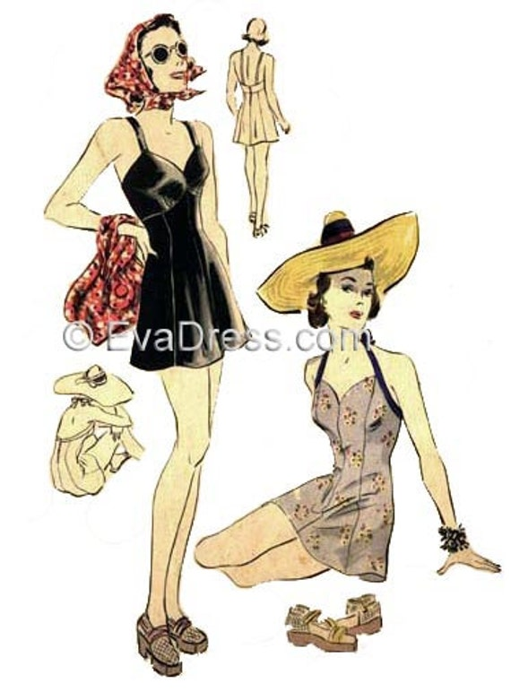 1930s Fashion Colors & Fabric 1938 Swimsuits Pattern by EvaDress 32 bust1938 Swimsuits Pattern by EvaDress 32