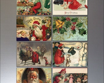 Traditional Christmas Victorian reproduction Fridge magnets No.2