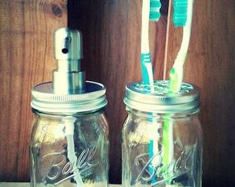 Ball Pint Size Mason Jar Soap Dispenser /Pump and Toothbrush Holder Set