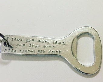 Custom Stamped Aluminum Bottle Opener Keychain Stocking Stuffer