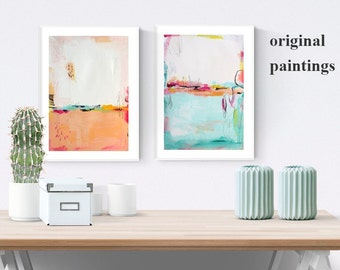 Wall Art  ,Painting , abstract painting    wall art with rosa and white.Modern Painting Jolina Anthony