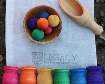 Montessori Materials, Summer Learning Toy, Travel Toy, Ball and Pot Sorting Game, Waldorf Learning Games, Preschool Kids Activity