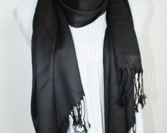 On Sale New woman's black pashmina cashmere wool fine wool scarf.
