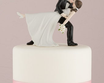 Funny wedding cake toppers etsy a romantic dip funny wedding cake topper choose hair color junglespirit Choice Image