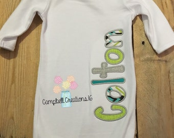 Baby Gown With Name - Baby Boy Gown With Name - Coming Home Outfit - Hostpial outfit