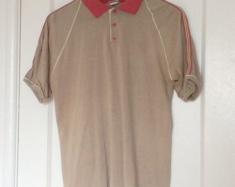 1970's Indy Knit Tan and Red Button-Up Polo