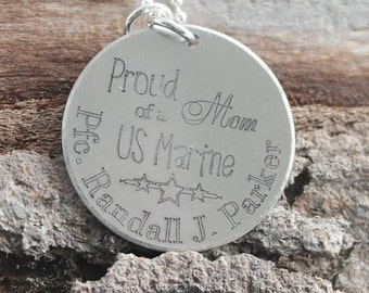 Proud Mom of a US Marine Personalized Necklace - Engraved