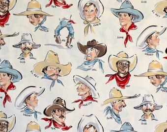 Buckaroos Cowboys in Ivory by Alexander Henry Fat Quarter OOP HTF