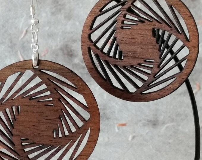 Geometric Earrings, Walnut Earrings