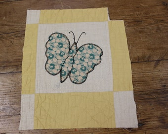 Very pretty Vintage/antique butterfly appliqué/patchwork panel circa 1900 American