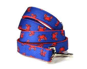 Red Crab Dog Leash, Nautical Dog Leash, Red Dog Lead, Preppy Dog Leash, Nautical Dog Leash, Preppy Dog Leash, Red Crab Lead, Nautical Leash