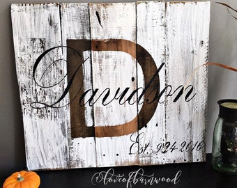 Last name with est. date rustic, wooden sign made from reclaimed pallet wood | Barn Wood Sign