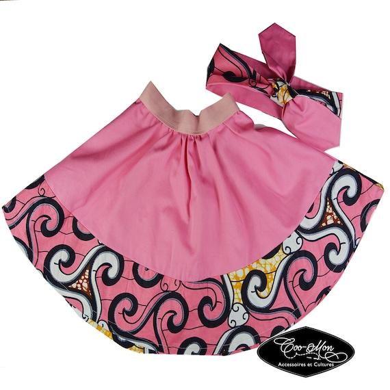 ensemble jupe cercle et bandeau turban foulard b b et fille. Black Bedroom Furniture Sets. Home Design Ideas