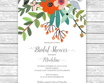Printable Bridal Shower Invitation/Bridal Shower Digital Files/Vintage Floral Bouquet Bridal Shower/Bridal Shower DIY Wedding
