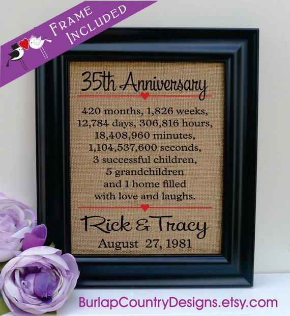35 Year Wedding Anniversary Gifts: FRAMED 35th Anniversary 35th Wedding Anniversary Gift 35th