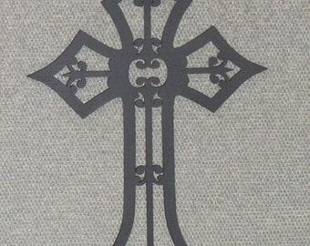 Wood Scrolled Wall Cross Fleur De Lis