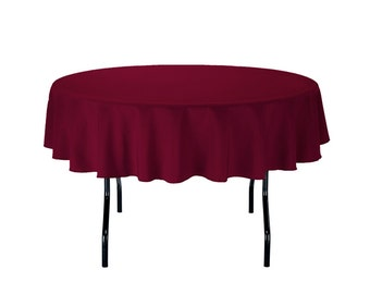 70 Inch Round Burgundy Polyester Tablecloth | Wedding Tablecloths