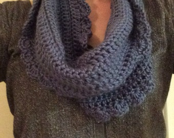 Crochet Blue Infinity Scarf, Cowl Neck-style, with a scalloped edge; Crochet Scarf; Winter Accessory