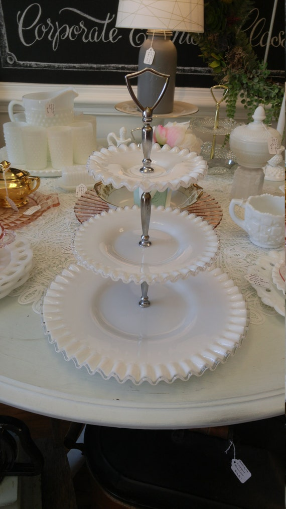 Vintage Fenton Milk Glass 3 Tier Silver Crest Serving Tray