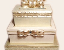 Wedding Card Box,Gold Wedding Card Box,Ivory Wedding Dress,Gold Wedding Invitation,Card Holder for Weddings,Golden Anniversary Card,Giftbox