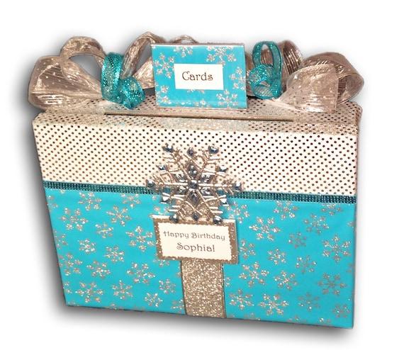 Sweet 16 Card BoxSnowflakeFrozenWedding By AlltheBestCardBoxes