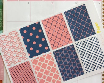 Navy and Coral Polka dots and patterns Full Box Decor Boxes!