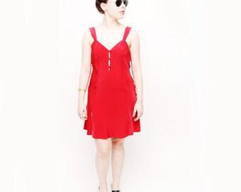 90s Vintage Red Slip Dress M