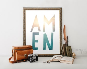 Amen printable Digital art Christian Scripture Bible quote 5x7 8x10 Ocean theme Water Blue Teal Sunrise Digital HEART OF LIFE Design decor